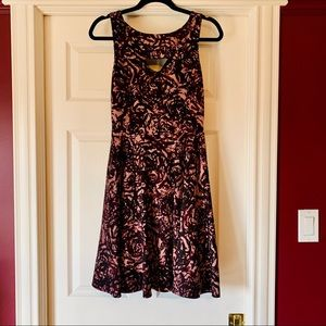 RW&Co. Abstract Floral Dusty Rose/Purple Dress